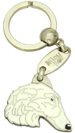 BORZOI WHITE - pet ID tag, dog ID tags, pet tags, personalized pet tags MjavHov - engraved pet tags online